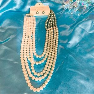 Pearl Strands w CZ Details and Earrings